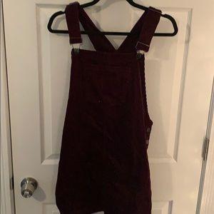 Corduroy maroon overall dress